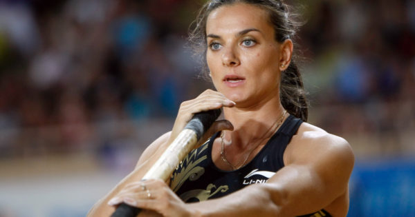 Russia's Yelena Isinbayeva competes in the women's pole vault at the Herculis international athletics meeting, at the Louis II Stadium in Monaco, Friday, July 20, 2012. (AP Photo/Claude Paris)