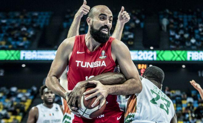 Ben Romdhane (Unisie) lors de la finale de l'Afrobasket 2021 à Kigali (Rwanda).